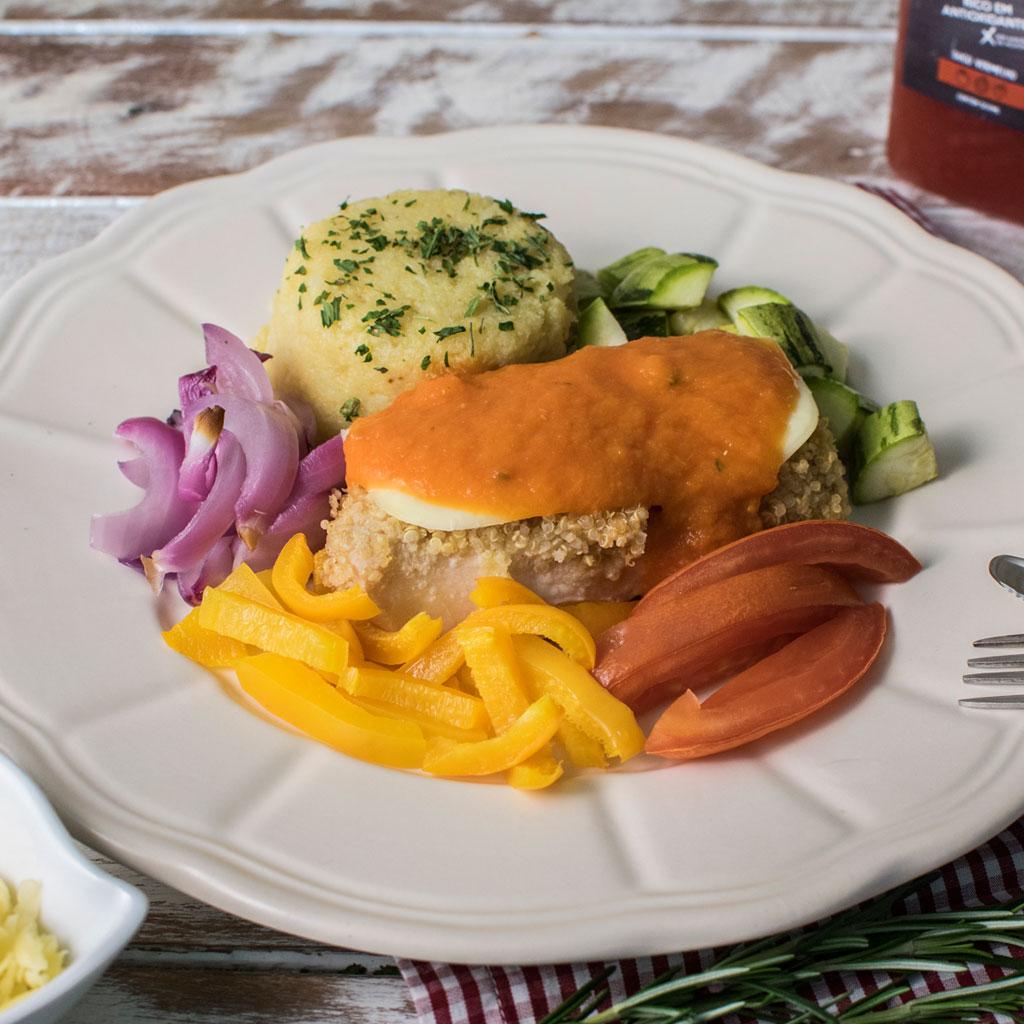 Lefit Pratos Saudáveis - Frango Parmegiana com Purê Fit e Legumes