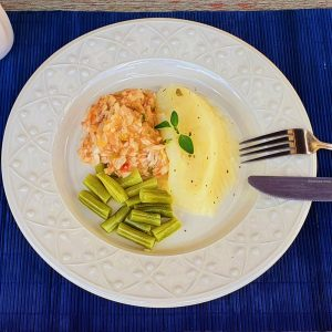Tilapia com Pure de Batatas + Vagem